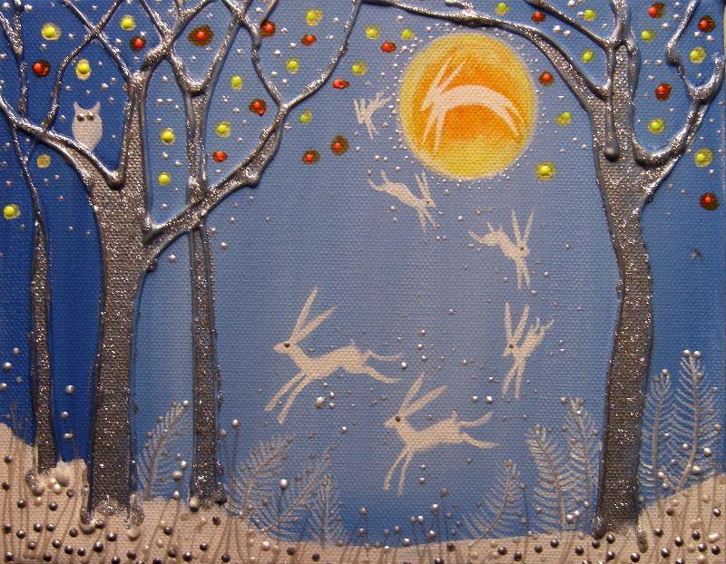 Dancing moon hares