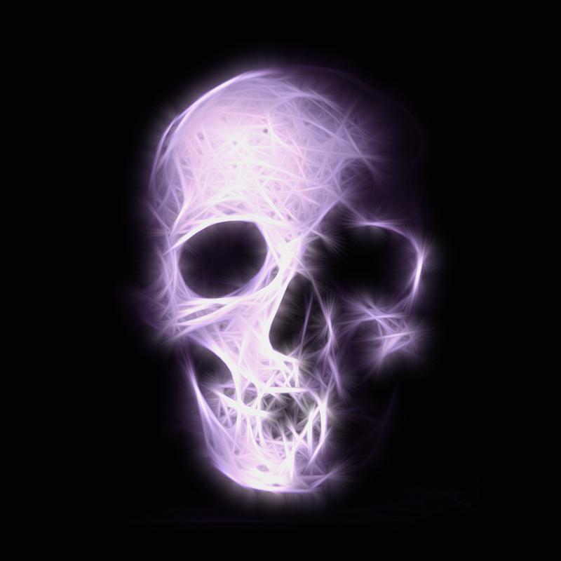 Purple glowing skull head