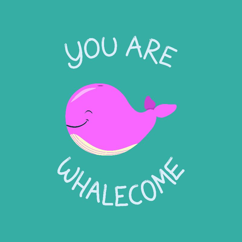 Whale Thank you  Pink
