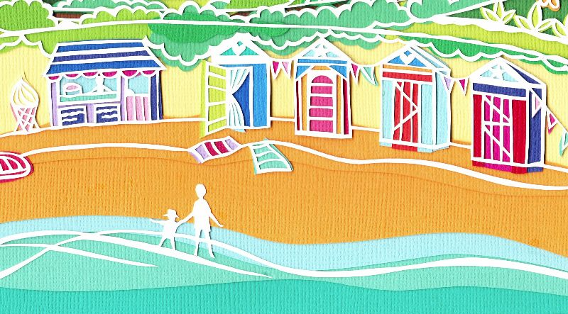Beach hut bay seaside