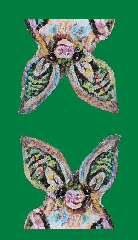 Long eared bats on green