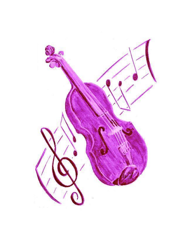 Violin picture pink