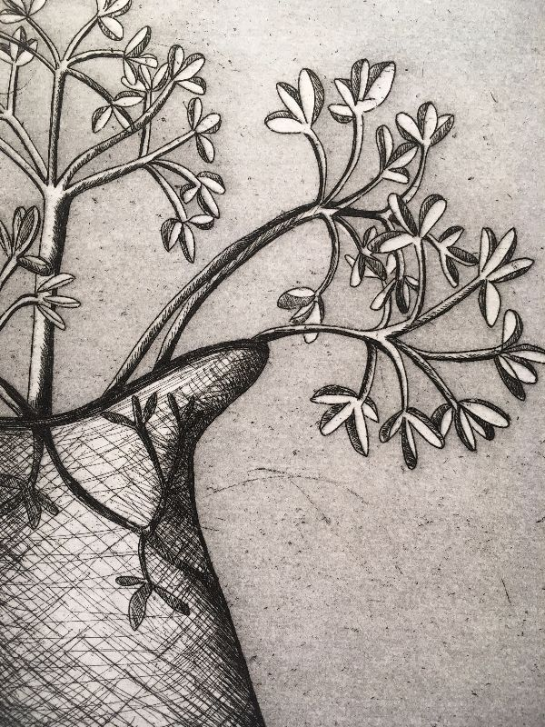 Dried flowers etching