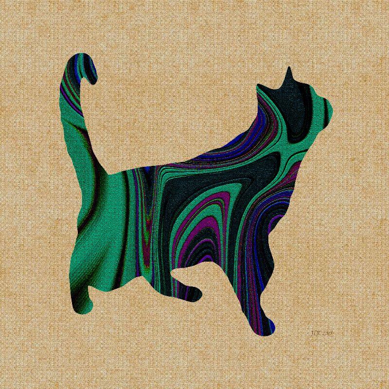Standing Green Cat