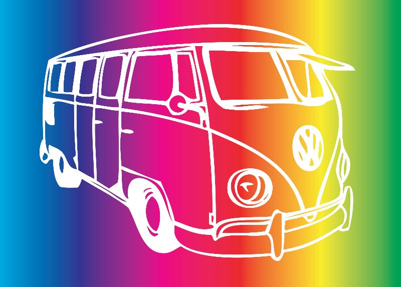 Rainbow VW Bus