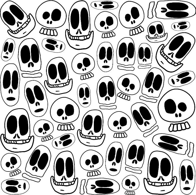 Smiley Skulls BW