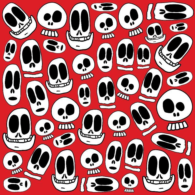 Smiley Skulls on Red BG