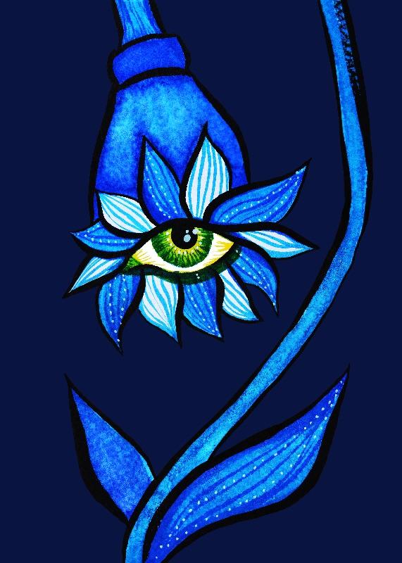 Creepy Eye Flower In Blue