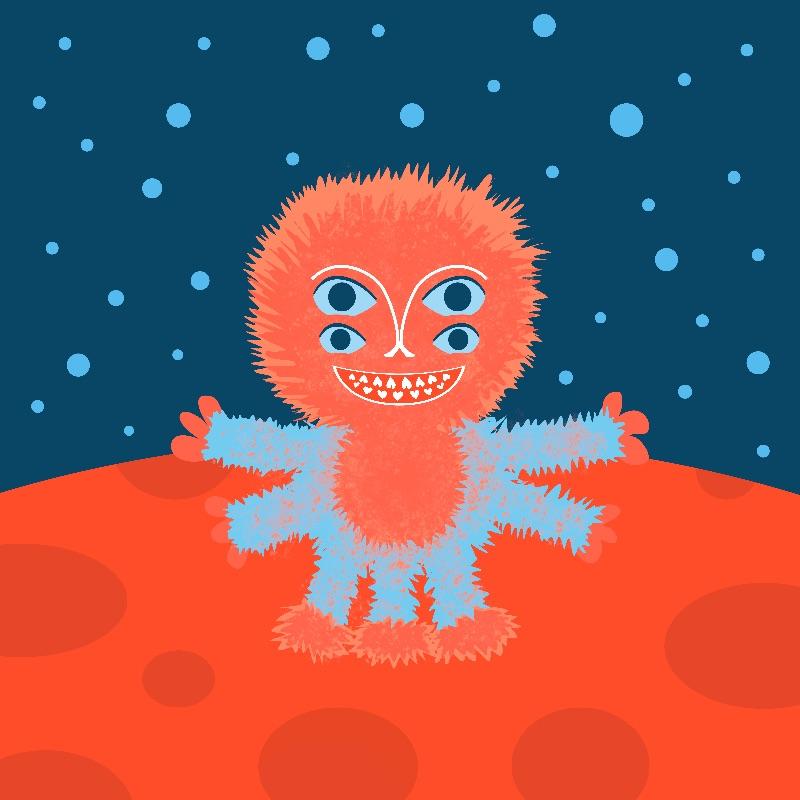 Cute Happy Fluffy Alien