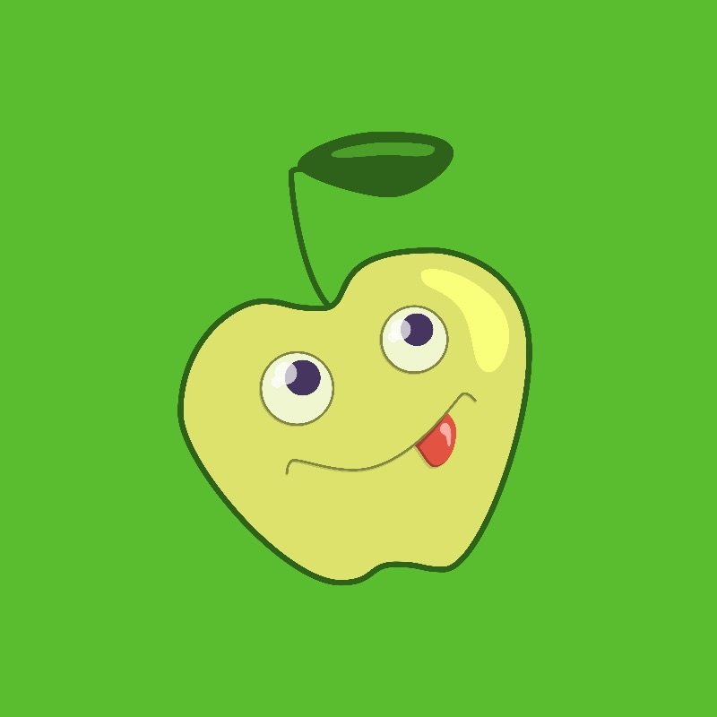 Cute cartoon green apple