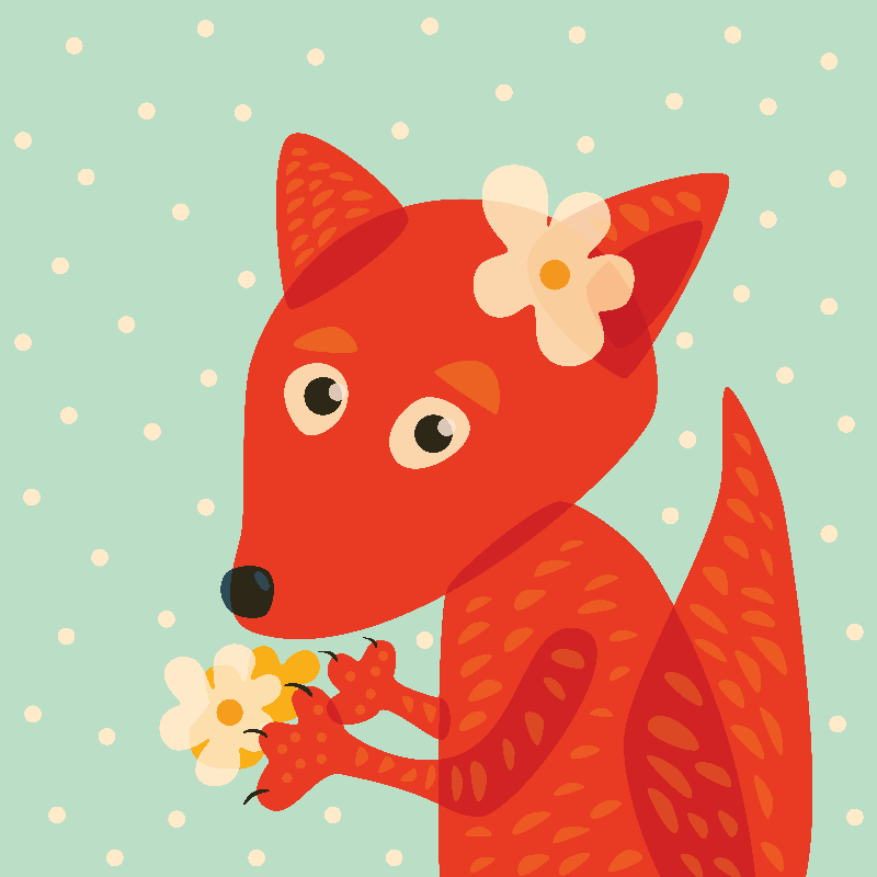 Flowers And Cute Fox