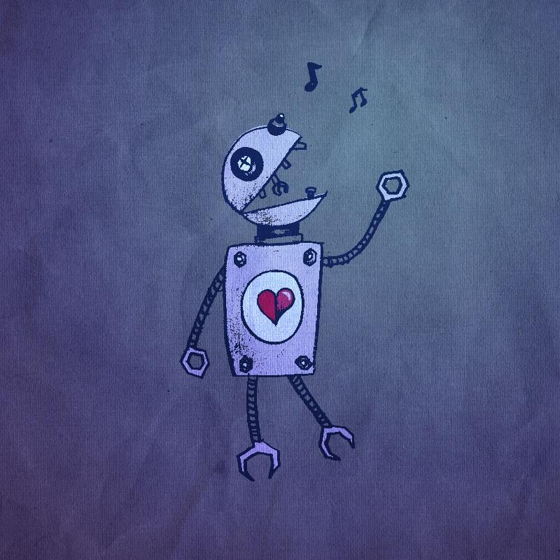 Grunge Blue Singing Robot