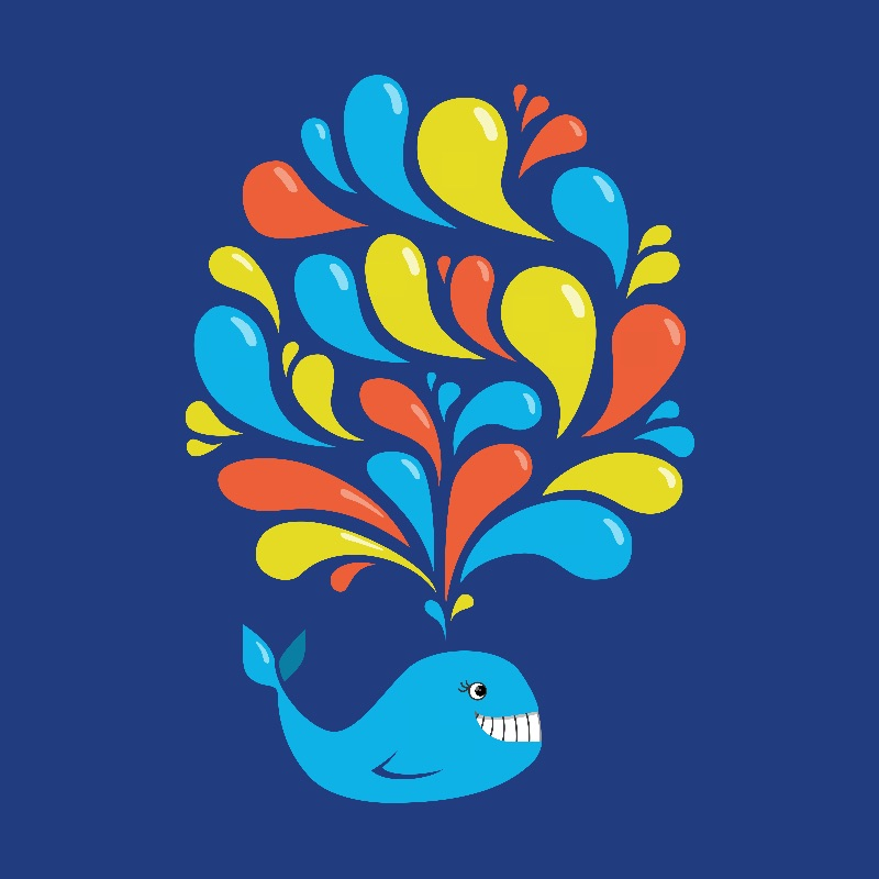 Happy Colorful Whale