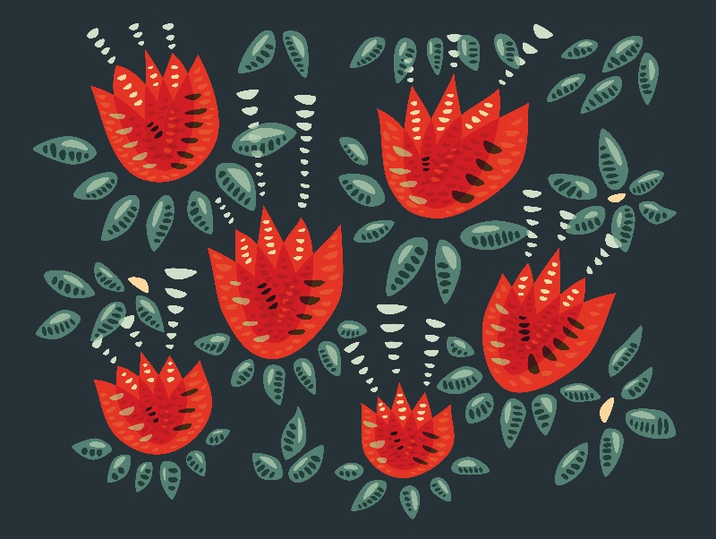 Pretty Red Tulips Pattern