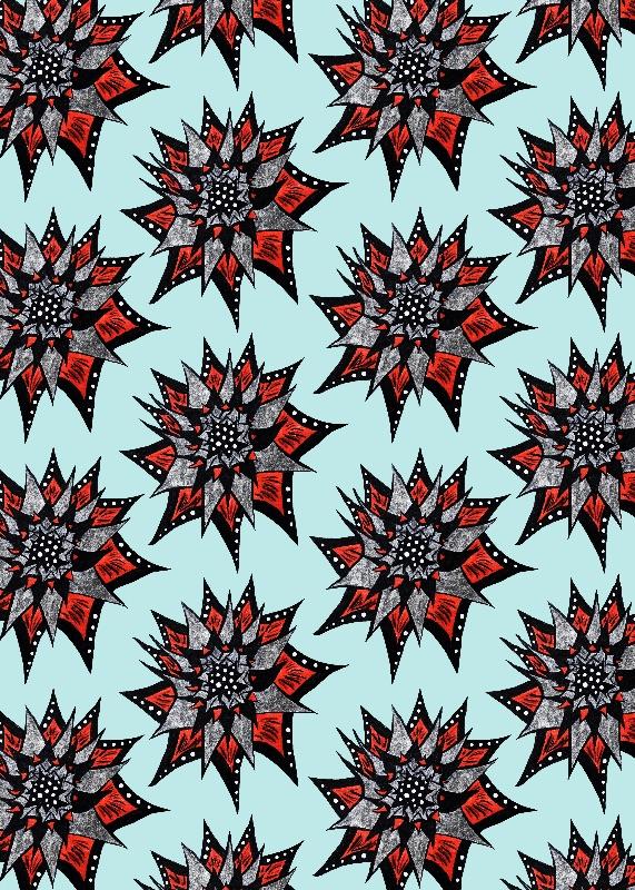 Spiked Ink Flower Pattern