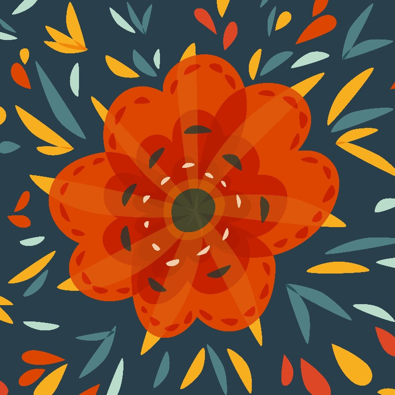 Whimsical Orange Flower