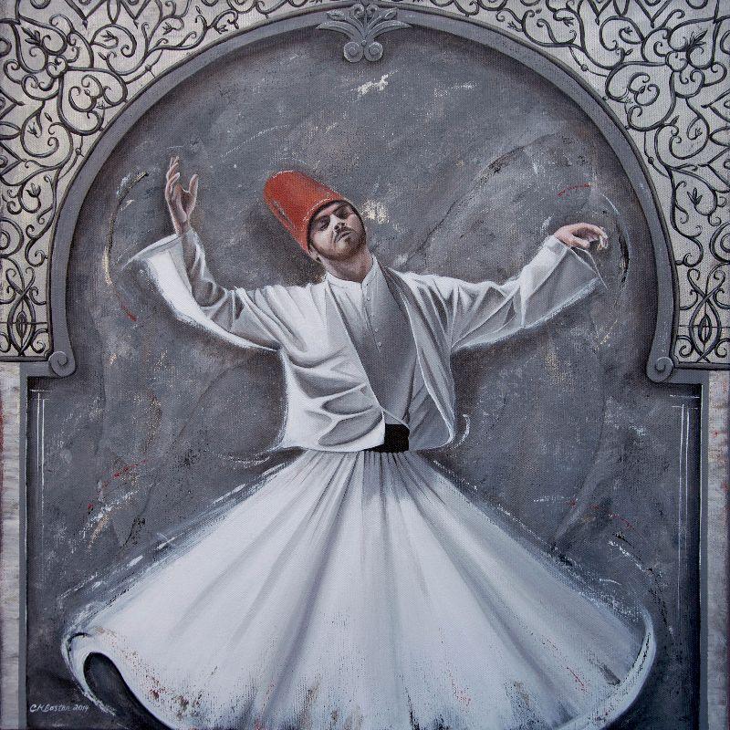 Ottoman Dervish on Slate