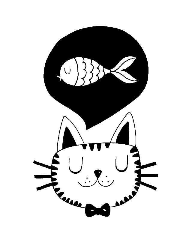Monochrome Cat and Fish