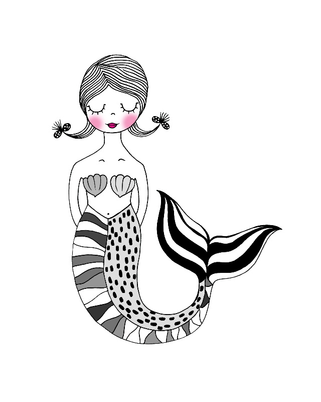 Monochrome mermaid