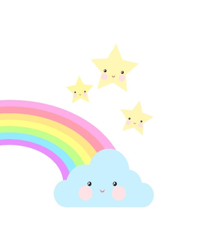 Rainbow cloud and stars