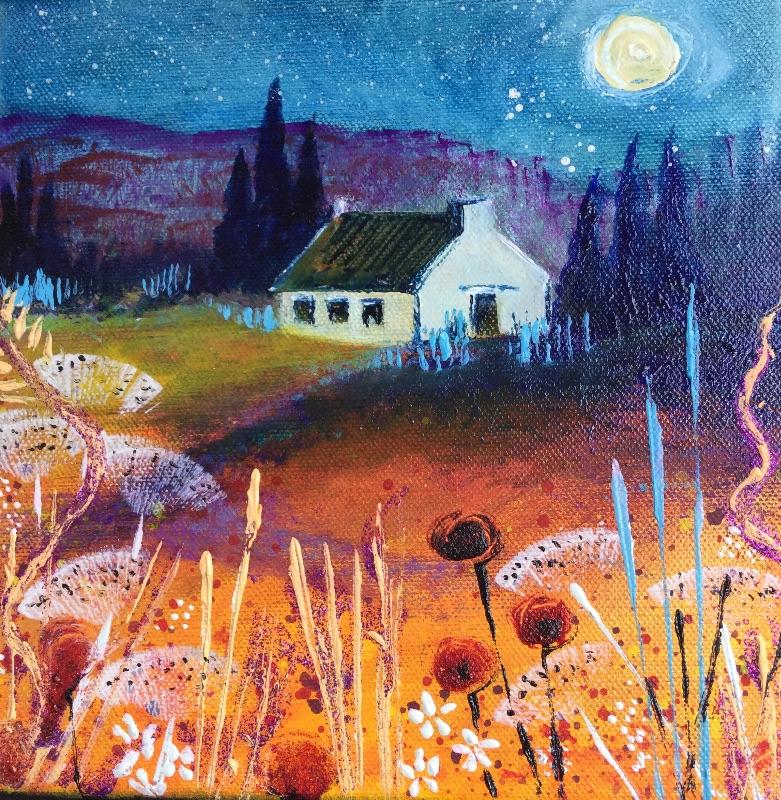 Sparkly blue cottage scen