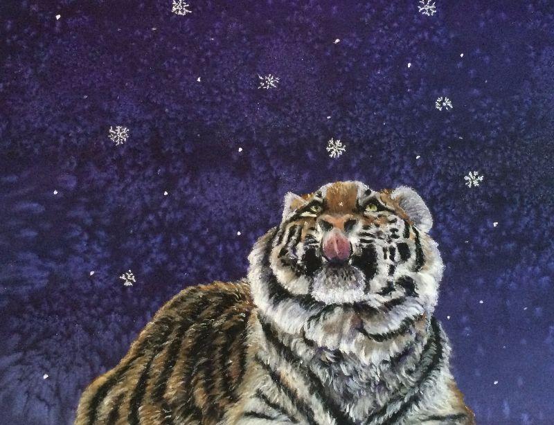 Christmas Snowflake Tiger