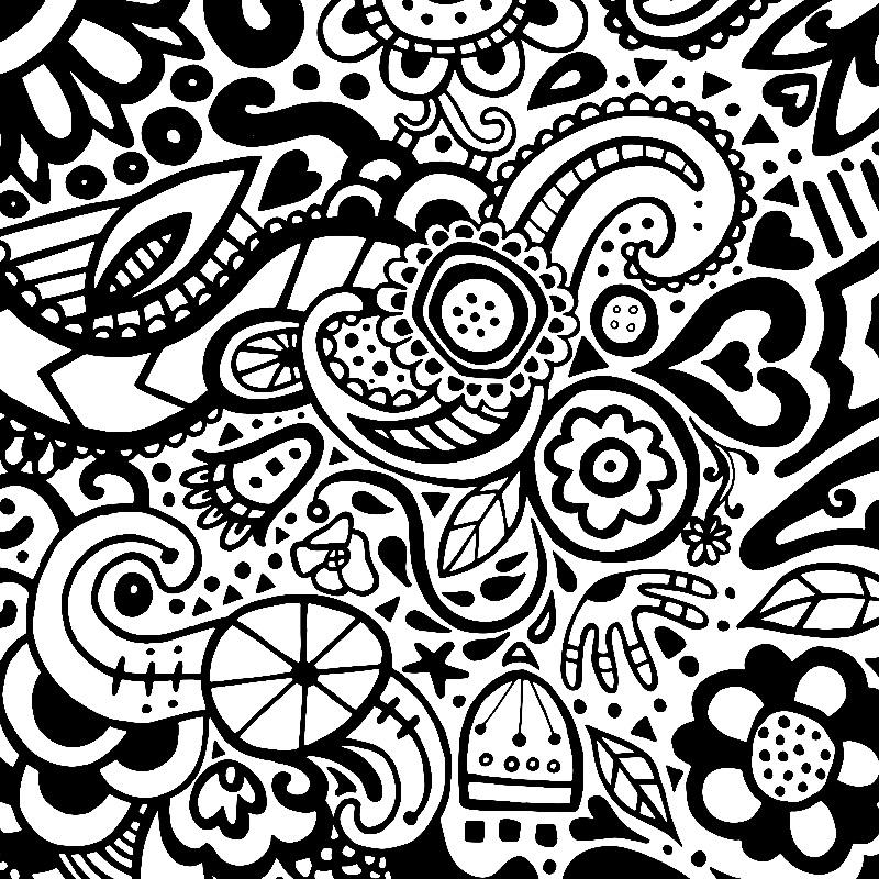 Folk Doodle Monochrome