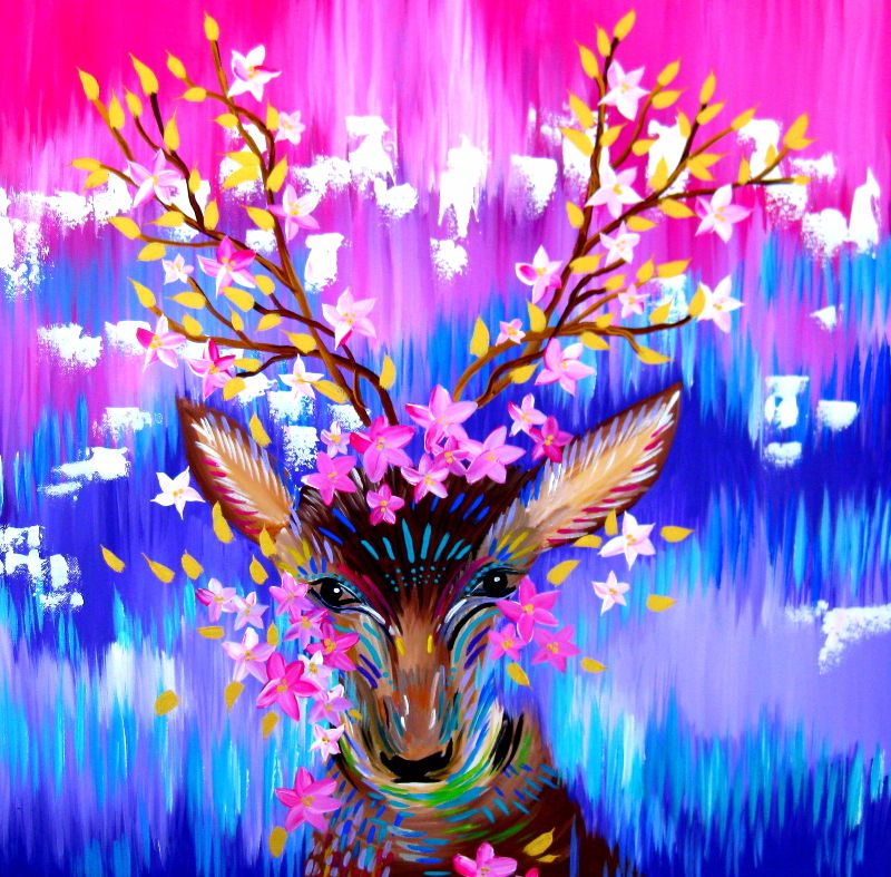 Deer With Pink and Purple