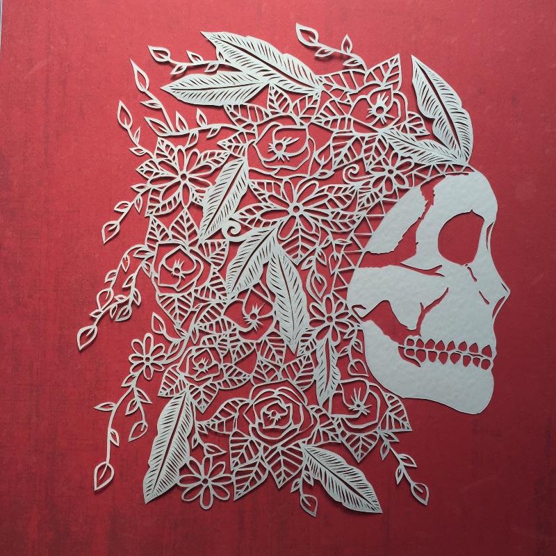 floral skull papercut