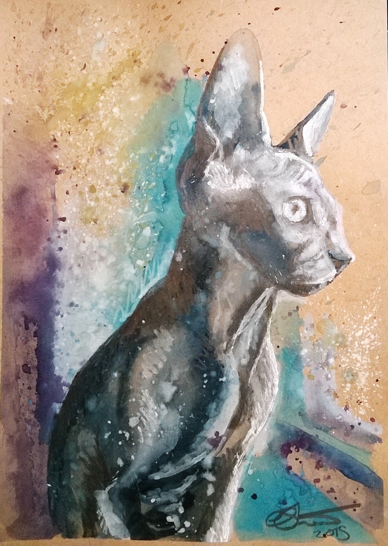 Sphynx watercolour