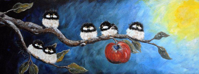 Autumn apple and birds