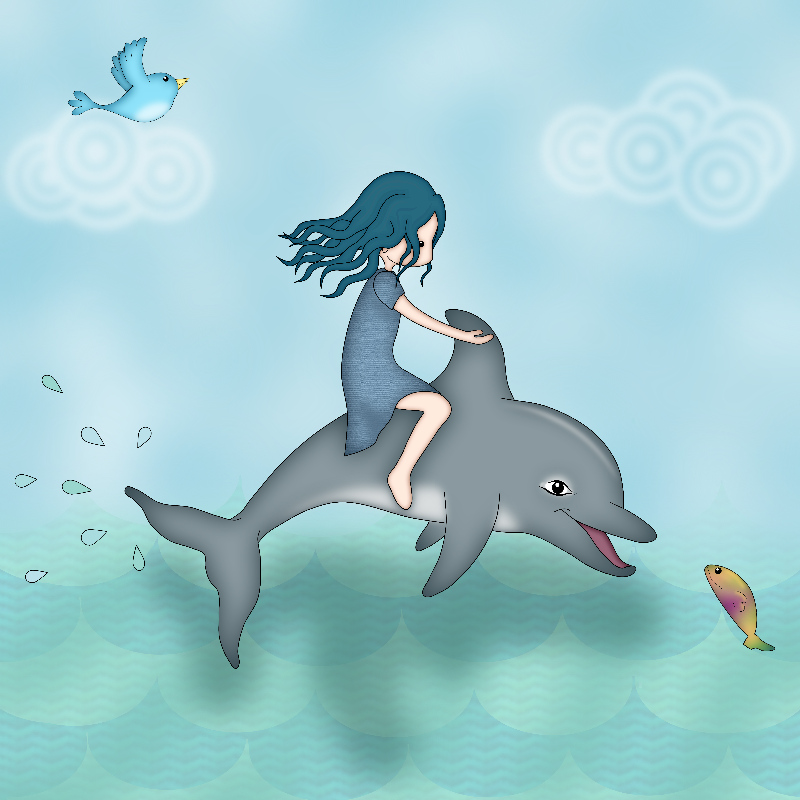 Whimsical Dolphin Girl