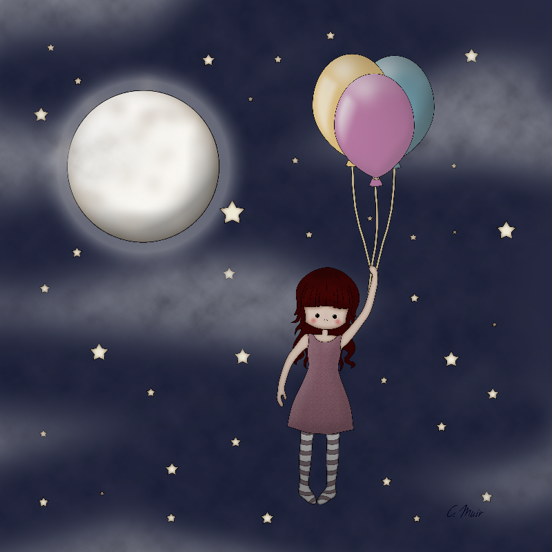 Whimsical Girl  Balloons