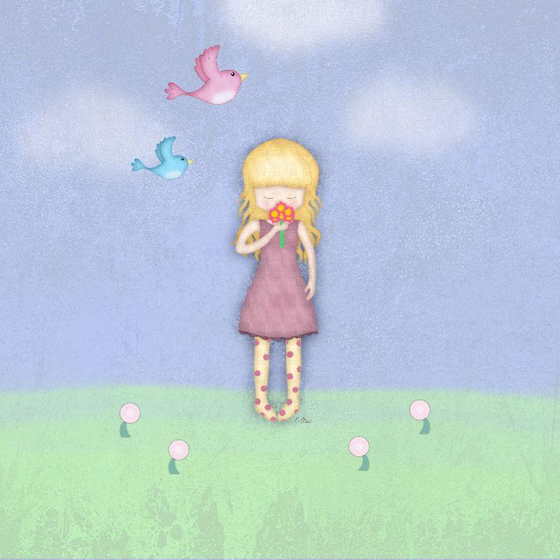 Whimsical Girl  Flowers