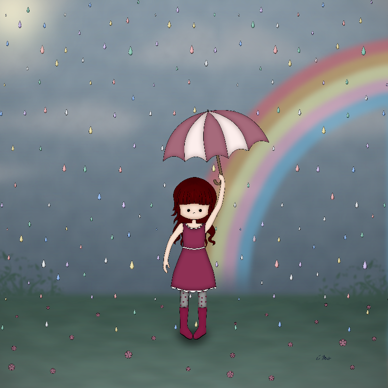 Whimsical Girl in Rain