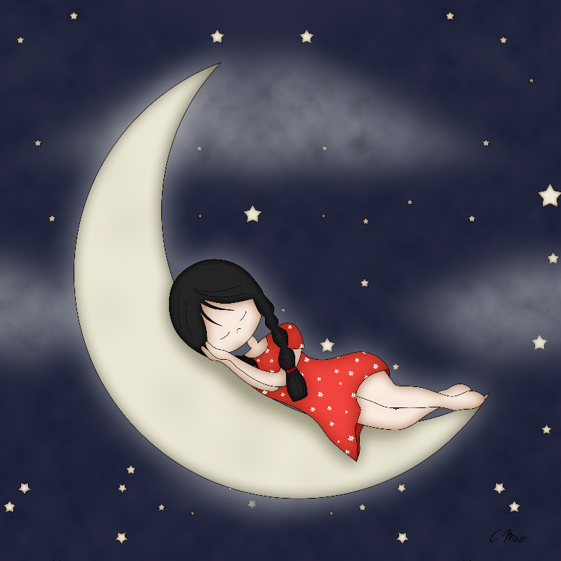 Whimsical Girl on Moon