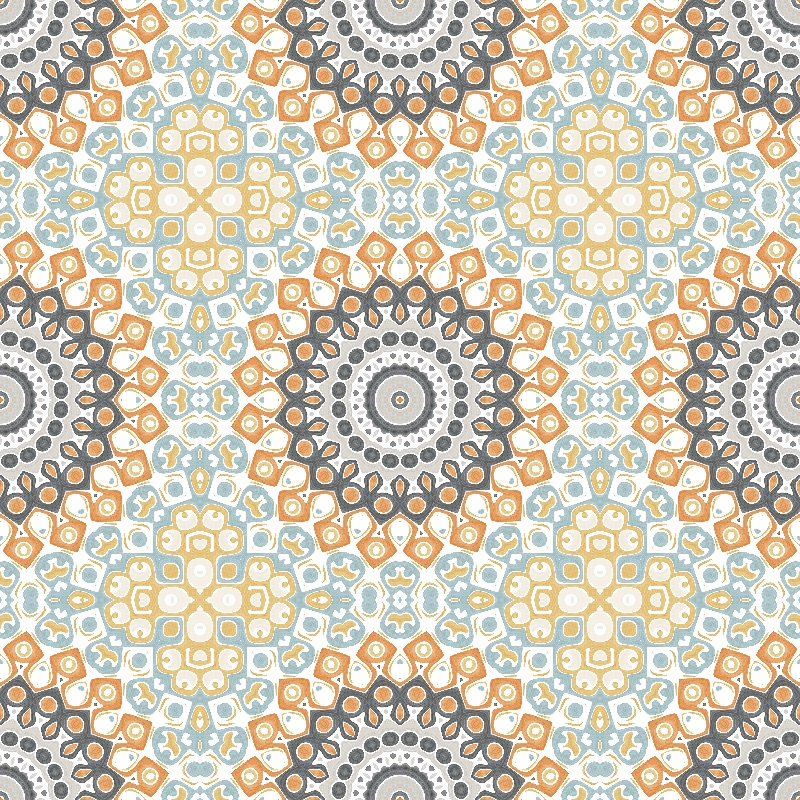 Grey and Orange Mandala