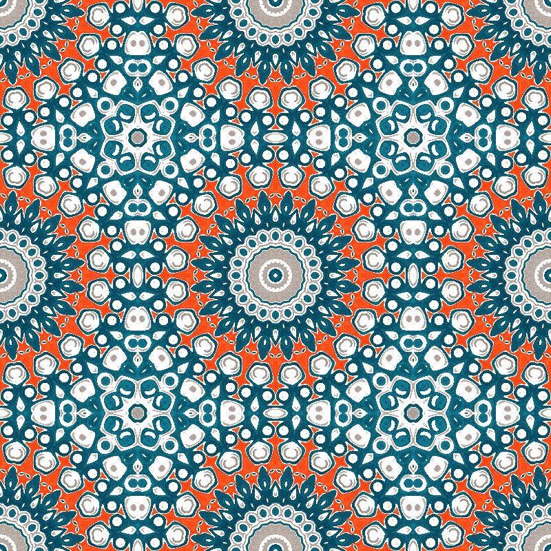 Mandala in Blue  Orange