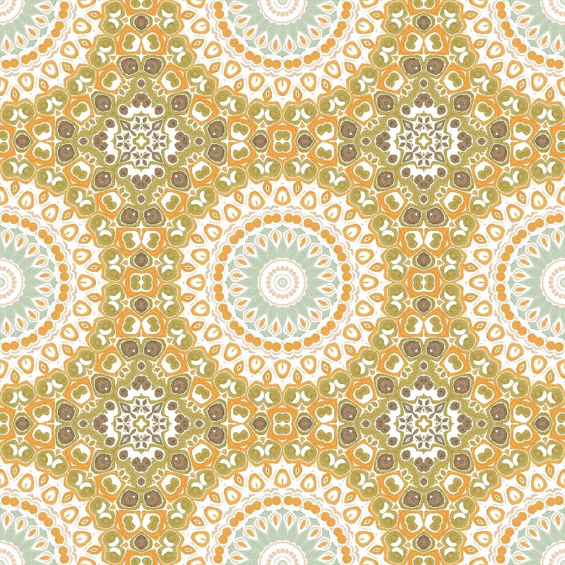 Mandala in Orange  Olive
