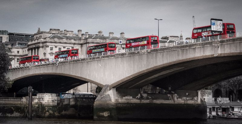 Red Buses Waterloo Bridge