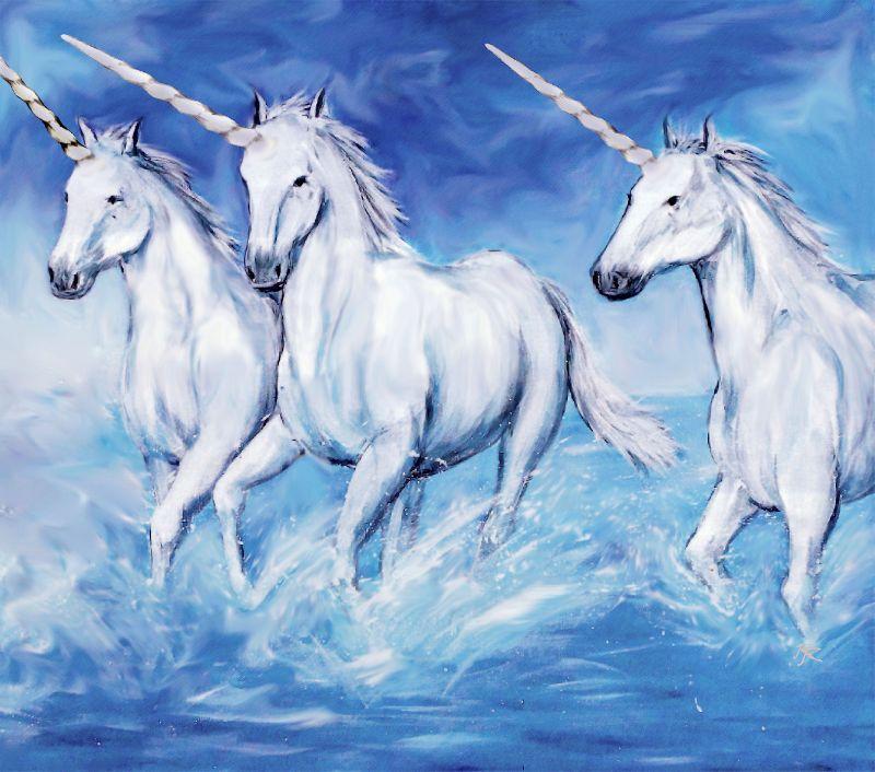 3 Unicorns in the sea