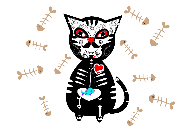 Sugar Skull Cat Skeleton