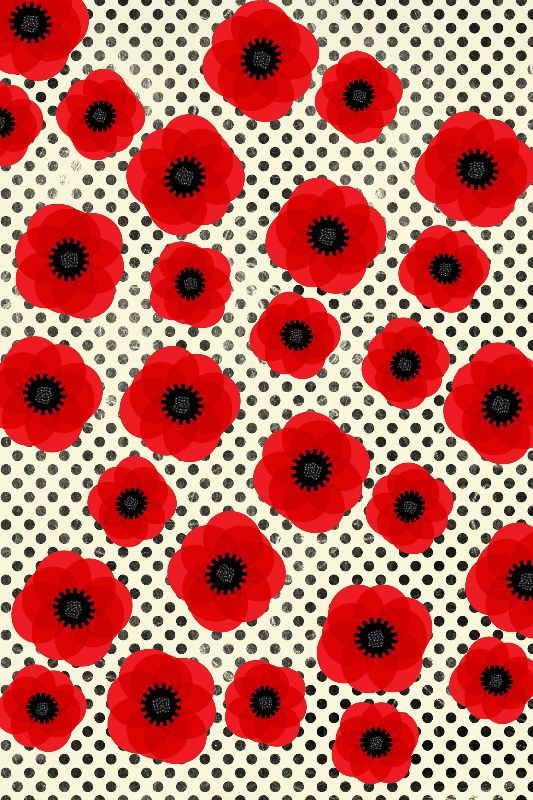 Red Poppies Polka Dot Mix