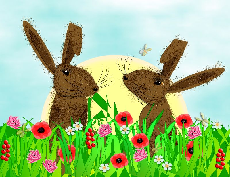 Whimsical March Hares