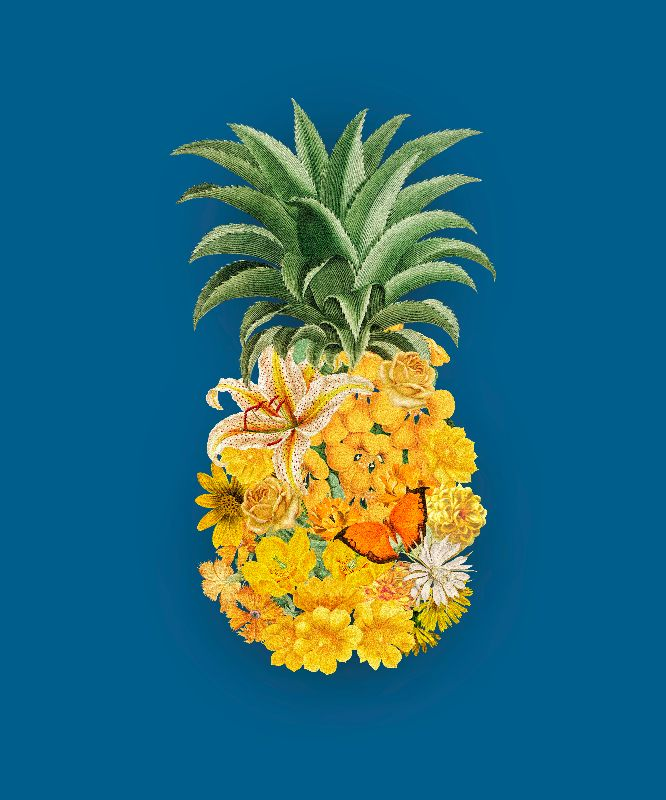 Pineapple Floral Blue
