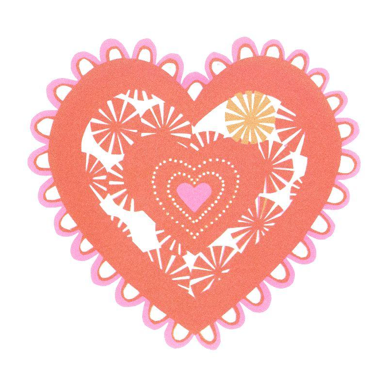 Pink paper Cut heart