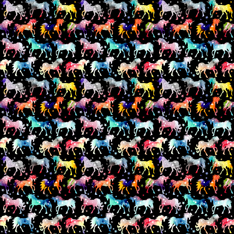 Rainbow Unicorns  black