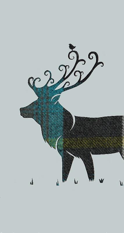 Azure tartan stag
