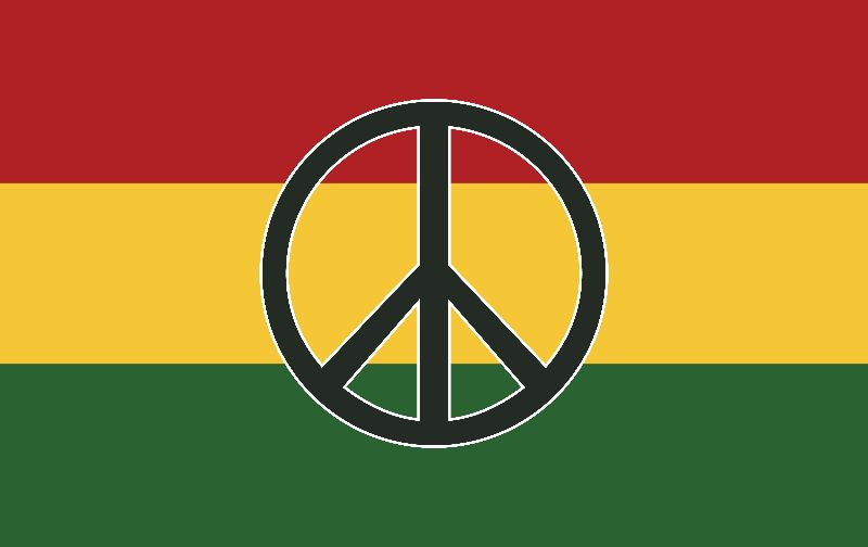 Peace symbol rasta colors