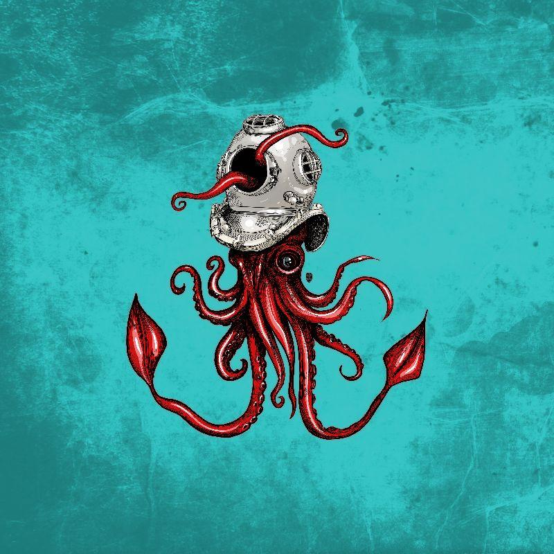 Squid with Diving Helmet